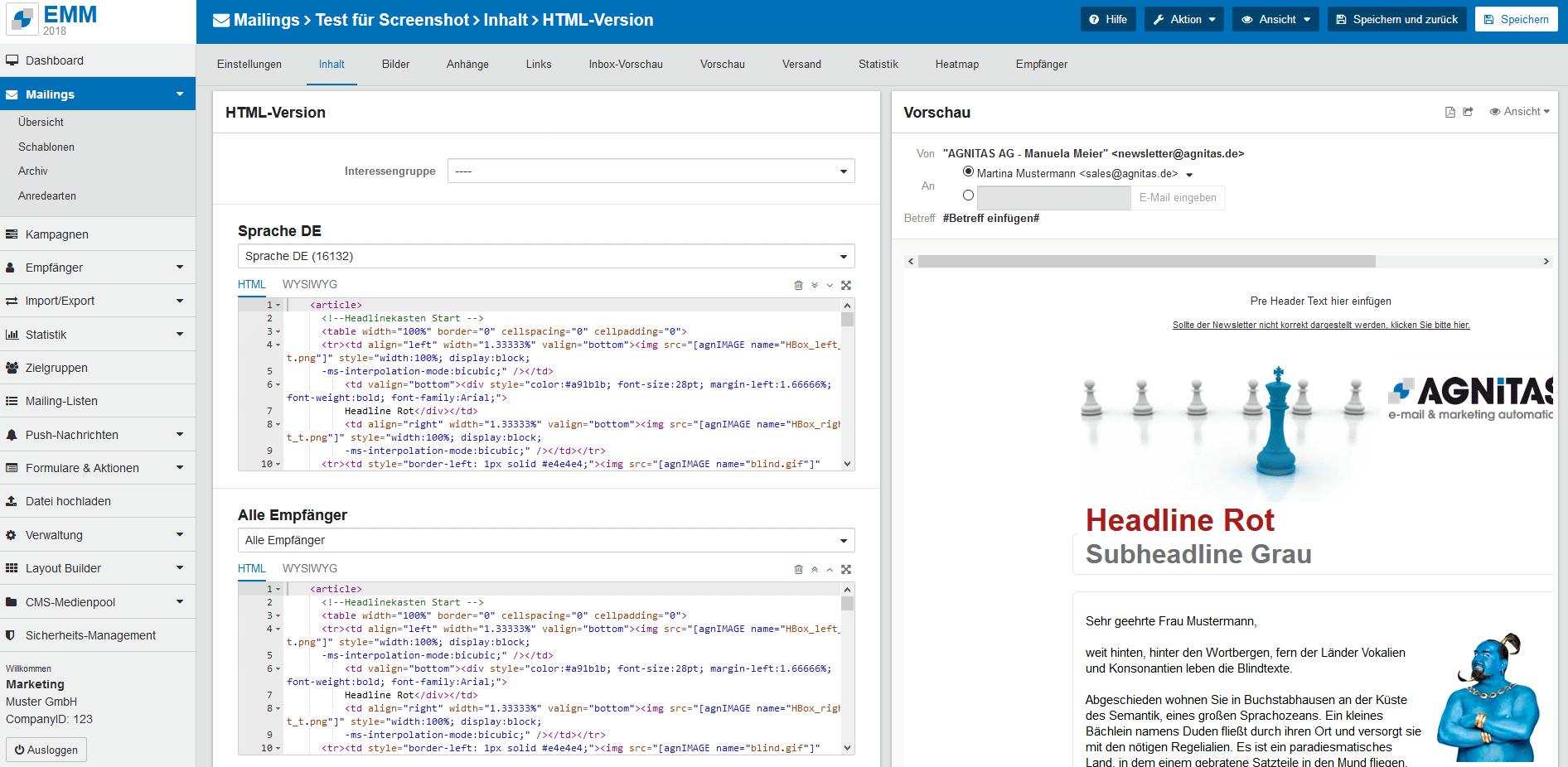 EMM Mailing-Erstellung mit Standard-Methode
