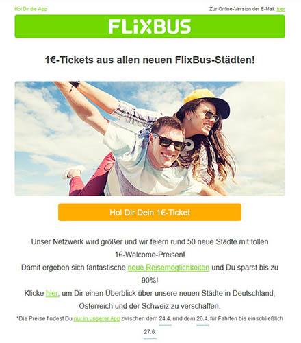 Beispiel Newsletter Flixbus