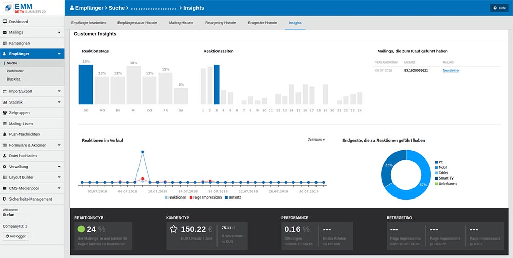 Screenshot Customer Insights