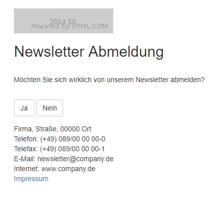 Newsletter Abmeldung Schritt 1