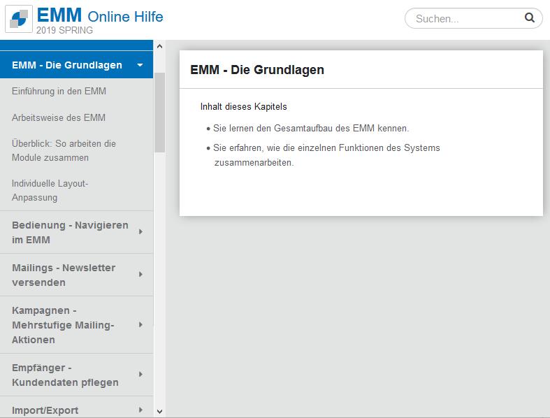 OpenEMM kontextsensitive Online-Hilfe