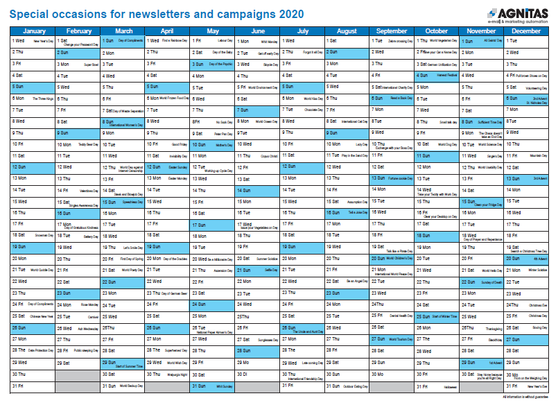 Campaign Calendar 2020 with creative newsletter occasion