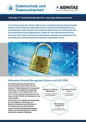 Factsheet Datenschutz und Datensicherheit bei AGNITAS