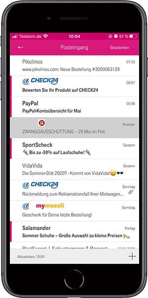 Handyansicht mit Markenlogos in der Inbox
