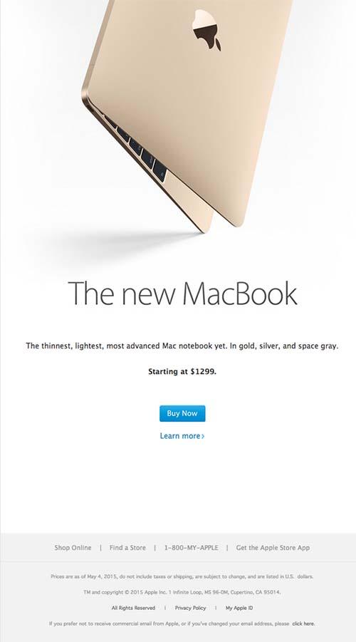 Minimalistisches Newsletter Design, Beispiel Apple