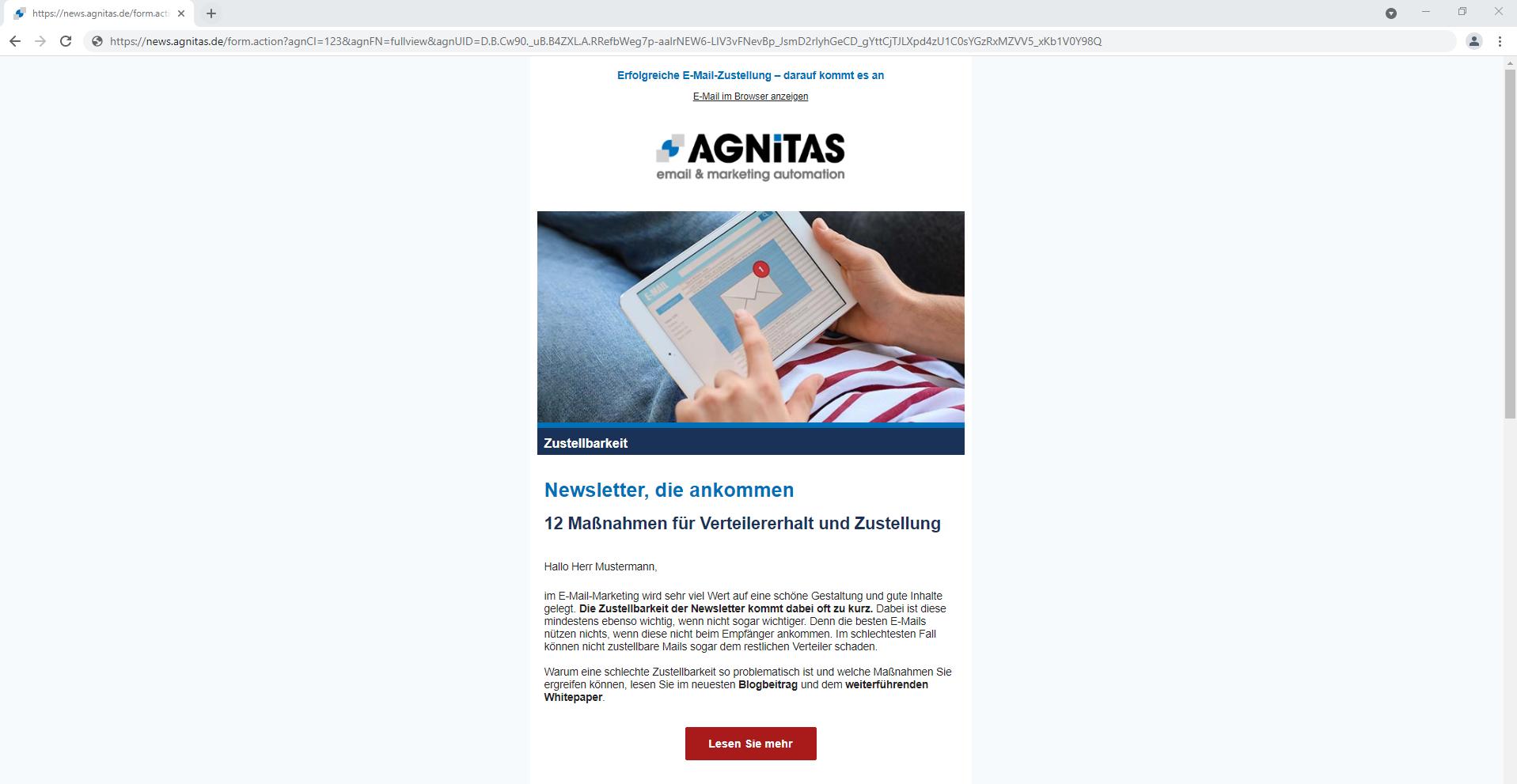 Webview Beispiel: Newsletter wird im Browser geöffnet